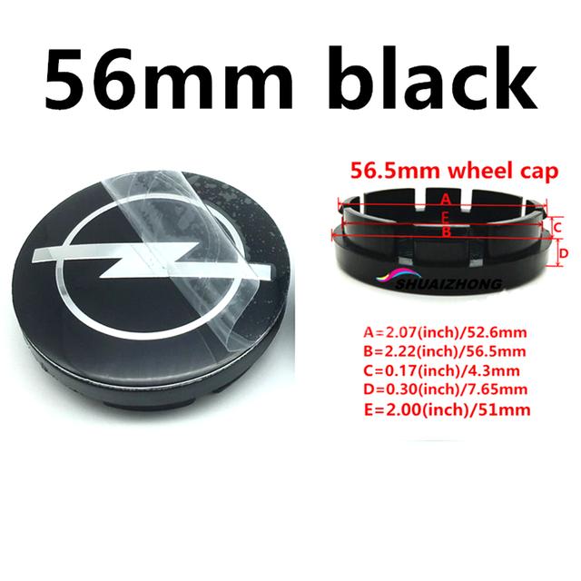 4pcs 56mm Black