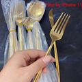 24pcs Gold Dinnerware Set Stainless Steel Tableware Set Knife Fork Spoon Flatware Set Cutlery Set Bright light preview-6