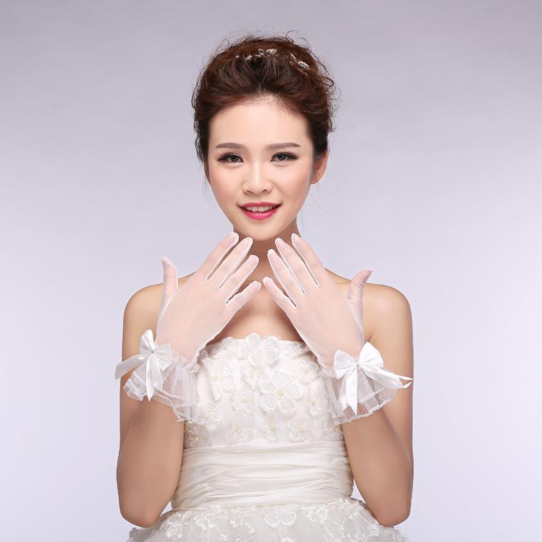 Korean Style New Korean Bride Wedding Lace Tulle Spring and Summer Short Bride Wedding Gloves White Accessories