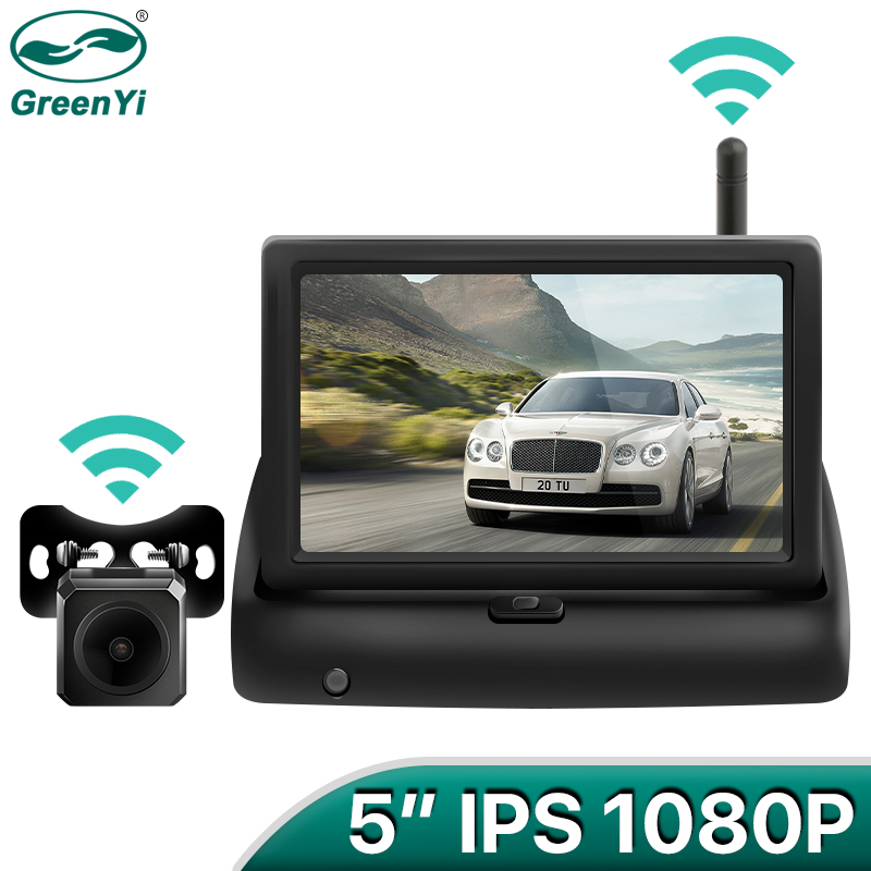 GreenYi Wireless 1080P 5 Inch Foldable IPS Car Monitor Reverse Rear View Camera Driving Kit with Stable Digital Signal