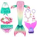 Swimming Mermaid Tail Kids Girls Costume Cosplay Children Swimsuit Fantasy Beach Bikini Can Add Monofin Fin preview-3