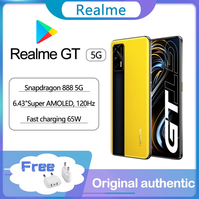Original Realme GT 5G smartphone Google 120Hz 6.43'' Super AMOLED Snapdragon 888 Glass 4500mAh 65W Super Charge global ROM NFC