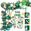 New! Wild One Birthday Party Balloons Jungle Safari Party Forest Decoration Kids First 1st Birthday Safari Jungle Party Supplies preview-1
