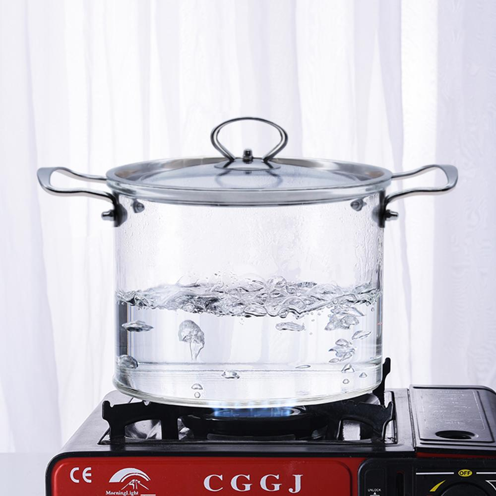 2020 New Glass Cooking Pot With Cover Heat-Resistant Saucepan Glass Kitchen Cookware Set Cooktop With Handle & Steam Hole