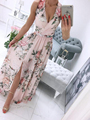 Women Summer Sleeveless Chiffon Maxi Dress Sexy Deep V Neck Floral Print Split Elegant Party Robe Longue  шифоновое платье 2021 preview-2