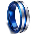 FDLK   8MM Men's Black Stainless Steel Ring Blue Red Groove Beveled Edge Wedding Engagement Anniversary Ring Jewelry For Men preview-5