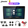 Jansite USB Android TPMS Car Tire Pressure Alarm Monitor System For vehicle Android player Temperature Warning with four sensors preview-1