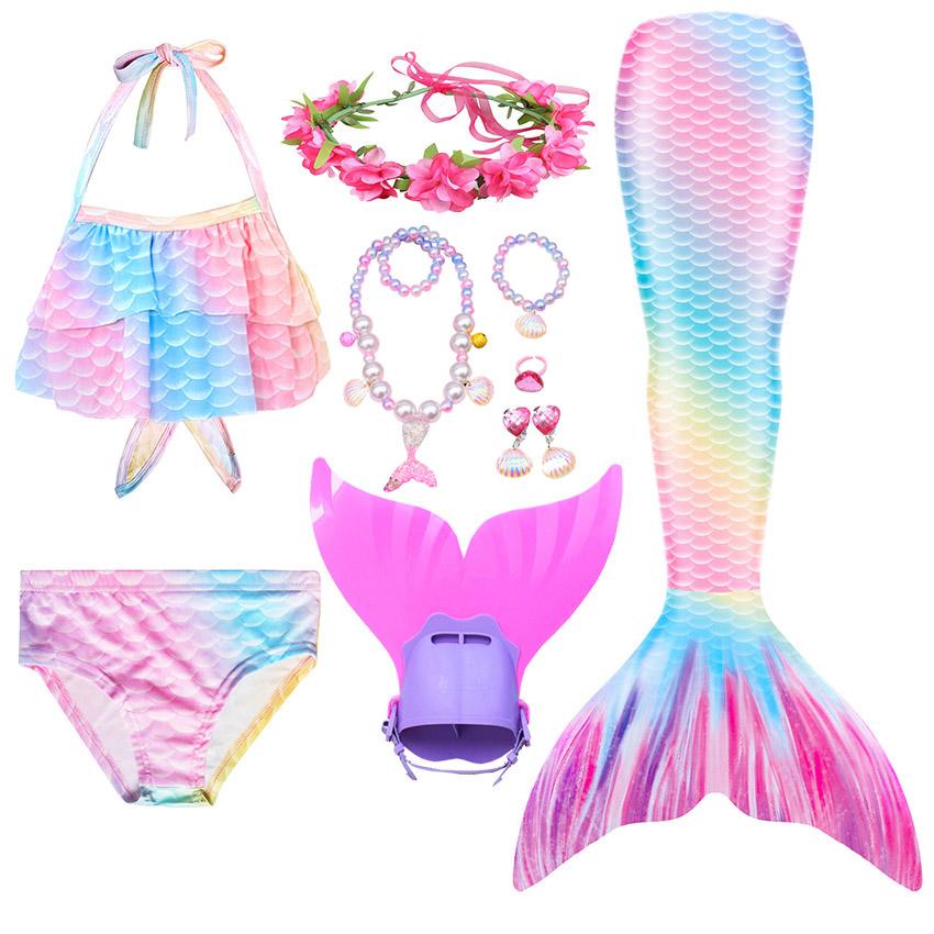 Swimming Mermaid Tail Kids Girls Costume Cosplay Children Swimsuit Fantasy Beach Bikini Can Add Monofin Fin