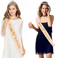 Birthday Party Decoration 18 21 30 40 50 Rose Gold Satin Sash Crystal Crown Tiara Happy Birthday Anniversary Party Supplies preview-4