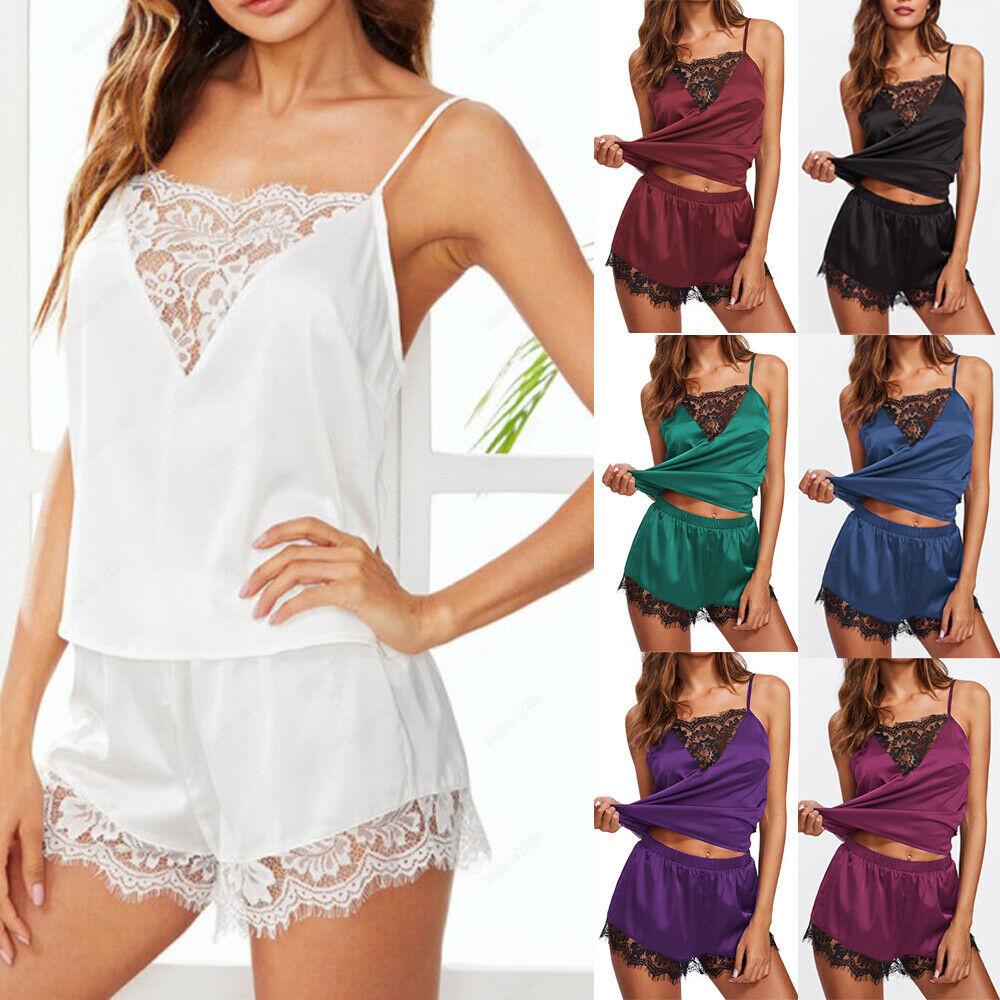 2020 New Women Summer Sexy Pyjamas Set Nightwear Lingerir Pjs Satin Silk Soft Sleepwear Sleepsuit