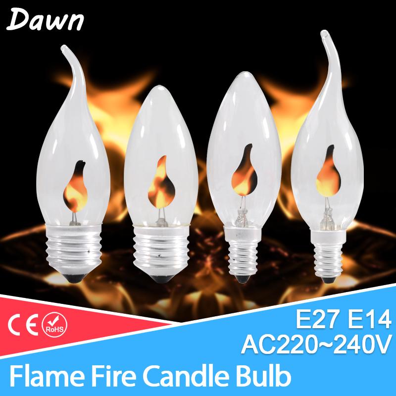 led bulb E14 E27 Edison Flicker Flame Led Candle Light Fire Lighting Vintage 3W AC220V 240V Tail Retro Decor Energy Saving Lamp