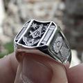 Vintage Sun Stars Skull Rings for Men Steam Punk AG Masonic Freemasonry Men's Rings Party Jewelry Gift preview-3