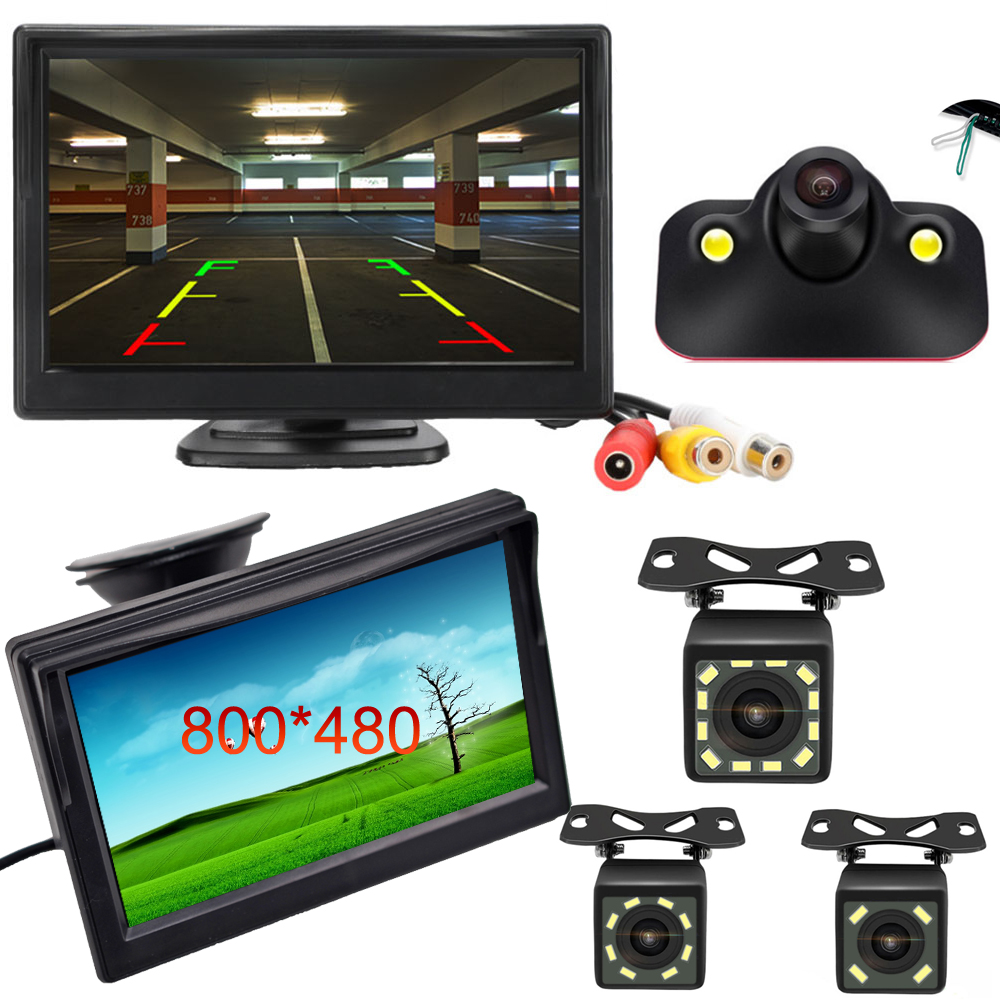 5 Inch Car Monitor TFT LCD Digital 800*480 16:9 Screen 2 Way Video Input or with Reverse Rear View Camera for Parking