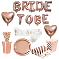 1set Bride To Be LED Balloons Sash Paper Banner Cup Straw Plates Bachelorette Party Bridal Shower Hen Party Wedding Decoration preview-4