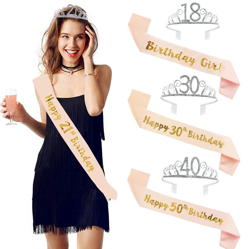 Birthday Party Decoration 18 21 30 40 50 Rose Gold Satin Sash Crystal Crown Tiara Happy Birthday Anniversary Party Supplies