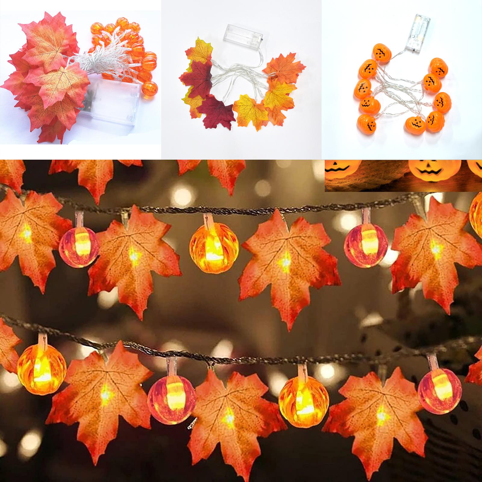 Halloween Decoration Thanksgiving Decor Pumpkin Light, Lighted Garland Battery Garland Home Indoor Outdoor Decor Halloween Maple