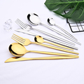 24pcs White Gold Dinnerware Set Stainless Steel Knife Fork Spoon Cutlery Set Kitchen Tableware Set Flatware Set Wholesale preview-3
