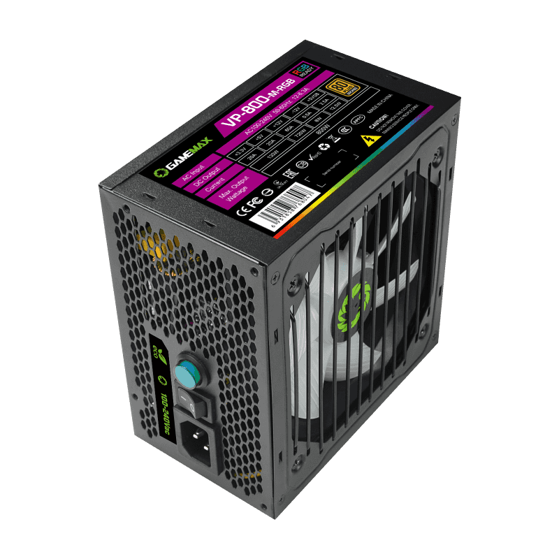 GameMAX Power Supply RGB PSU True Rated 800W Semi Modular 80 Plus Bronze RGB ATX PC Case Power Supply for Computer VP-800-M-RGB preview-6