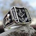 Vintage Sun Stars Skull Rings for Men Steam Punk AG Masonic Freemasonry Men's Rings Party Jewelry Gift preview-2