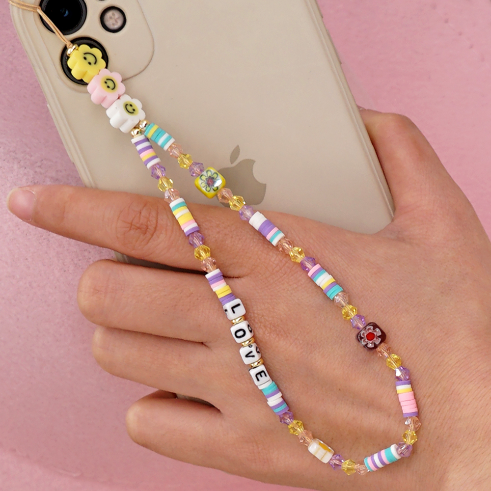 Shinus Phone Chain Lanyard Beads Mobile Phone Heishi Disc Crystal Beaded Cell Phone Chains 2021 LOVE Letter String Wristband