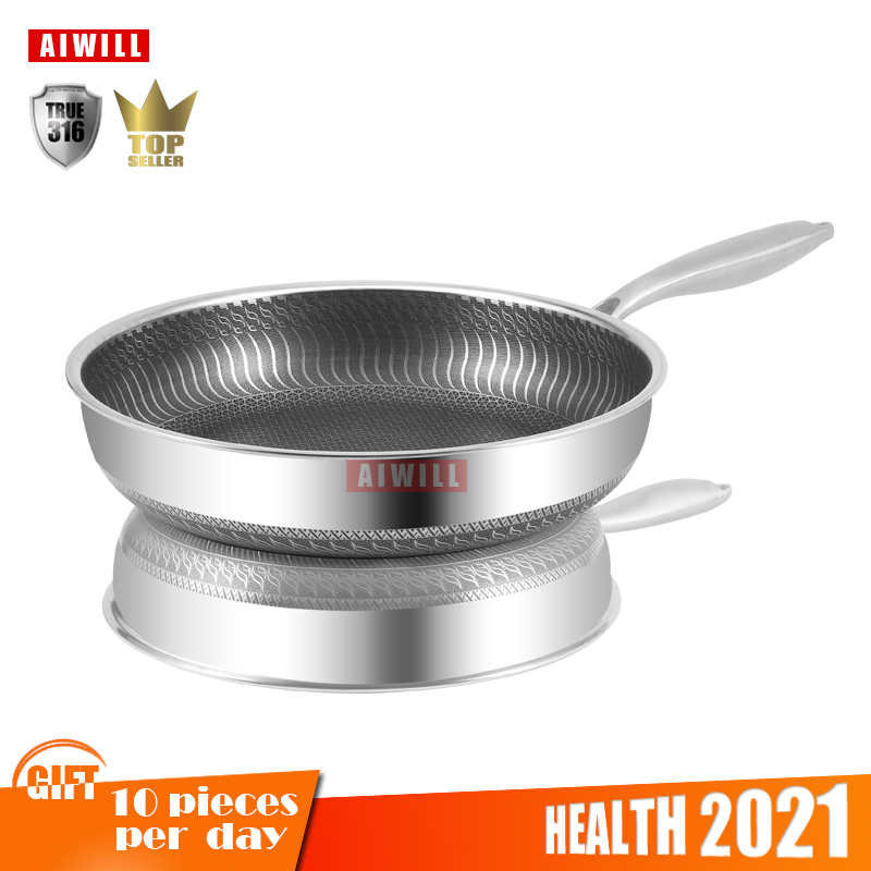 AIWILL New Kitchen High Quality 316 /304 Stainless Steel Frying Pan Nonstick Pan Fried Steak Pot Electromagnetic Furnace General