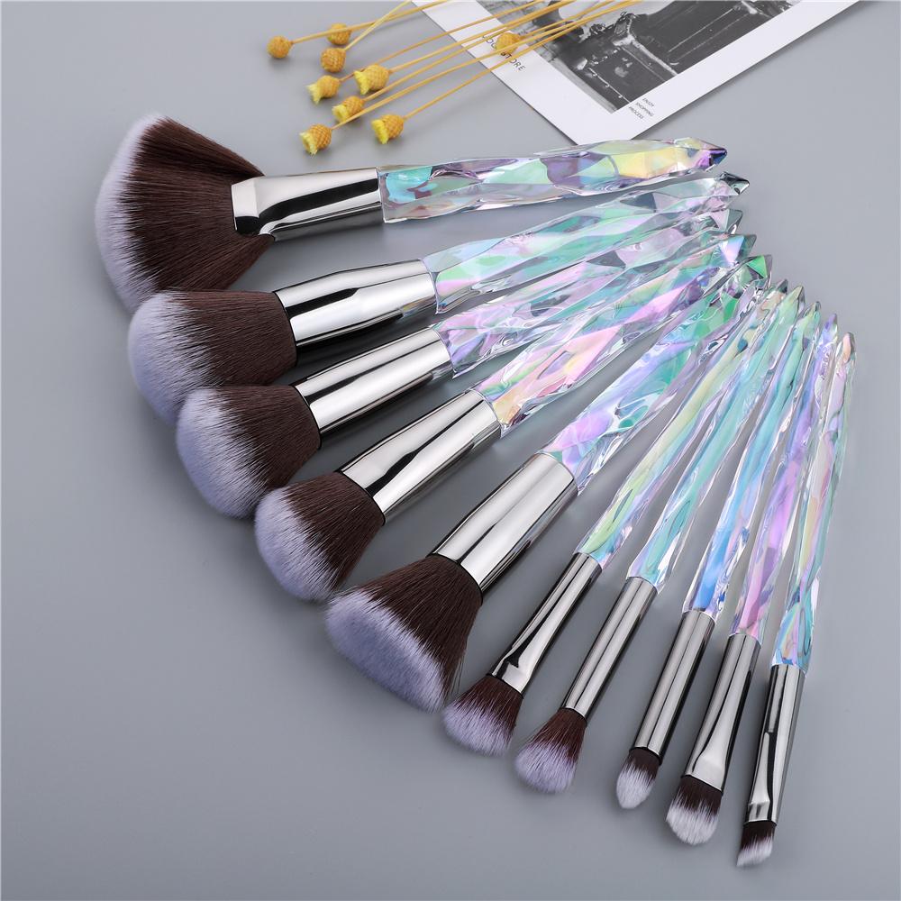 FLD Crystal Makeup Brushes Powder Foundation Eyeshadow Eyebrow Cosmetics for Face Fan Make Up Brush Set Brochas Maquillaje