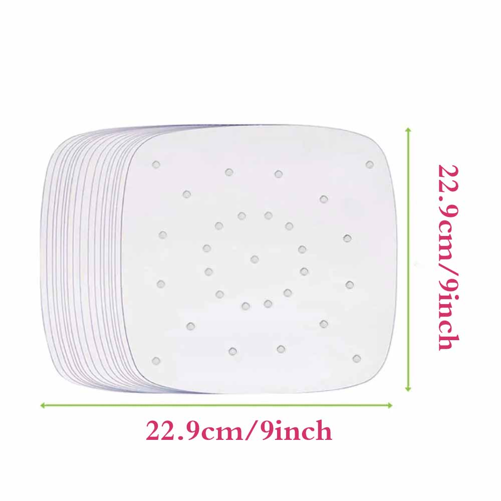 100pcs 7/8/9 Inch Air Fryer Liners Perforated Non-stick Mat Steaming Baking Cooking White Pot Oil Paper Accessories
