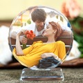Customized Round Shape Crystal Glass Photo Frame Personalized Picture Frame Photo Album For Birthday Friends Gifts Home Decor preview-2
