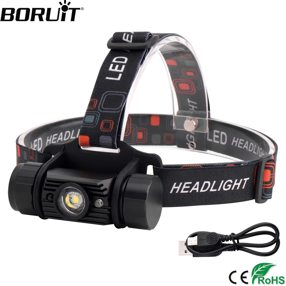 BORUiT RJ-020 XPE LED Induction Headlamp 1000LM Motion Sensor Headlight 18650 Rechargeable Head Torch Camping Hunting Flashlight