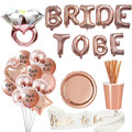 1set Bride To Be LED Balloons Sash Paper Banner Cup Straw Plates Bachelorette Party Bridal Shower Hen Party Wedding Decoration preview-1