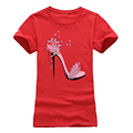 Romanticism 2017 fashion Summer T shirt Women Cotton Brand Clothing T-Shirt Pink High-heeled shoes Printed Top Tee preview-5
