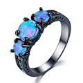 Exquisite Female Round Blue Fire Opal Fashion Ring Black Gold Filled Wedding Rings For Women Vintage Jewelry Anillos Mujer preview-5