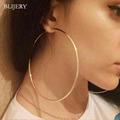BLIJERY Trendy Large Hoop Earrings Big Smooth Circle Earrings Basketball Brincos Celebrity Brand Loop Earrings for Women Jewelry preview-1