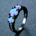 Exquisite Female Round Blue Fire Opal Fashion Ring Black Gold Filled Wedding Rings For Women Vintage Jewelry Anillos Mujer preview-1