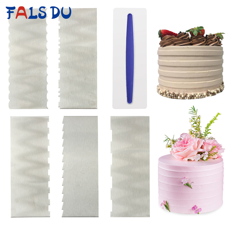 1pcs Stainless Steel Cake Decorating Tools Cake Scrapers Pastry Comb Smoother Cream Decorating Baking Tools Kitchen Baking Mold