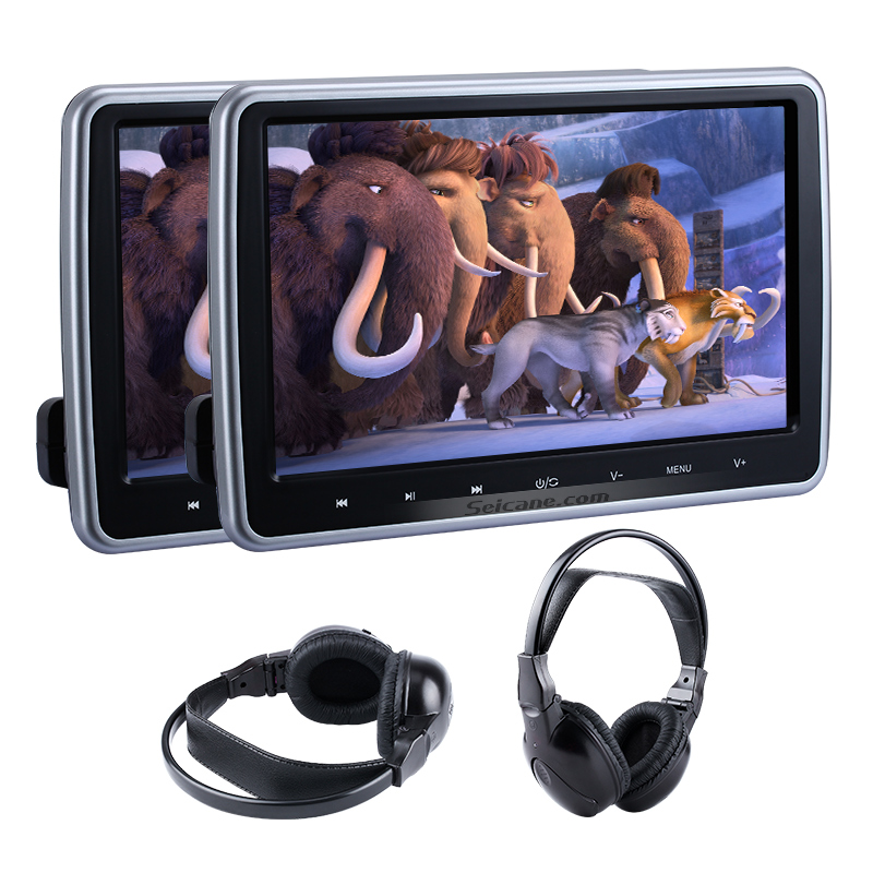 """Seicane 2pcs 10.1"""" Headrest Car DVD Player HD 1024*600 Monitor with Touch Button Mp3 Players USB SD HDMI Input 32 Bit Games"""