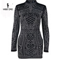 Missord 2021 Sexy Geometric Retro Rhinestone High-Necked Long-Sleeved Bodycon Tight Party Dress FT2838 preview-4