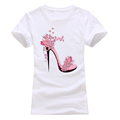 Romanticism 2017 fashion Summer T shirt Women Cotton Brand Clothing T-Shirt Pink High-heeled shoes Printed Top Tee preview-1