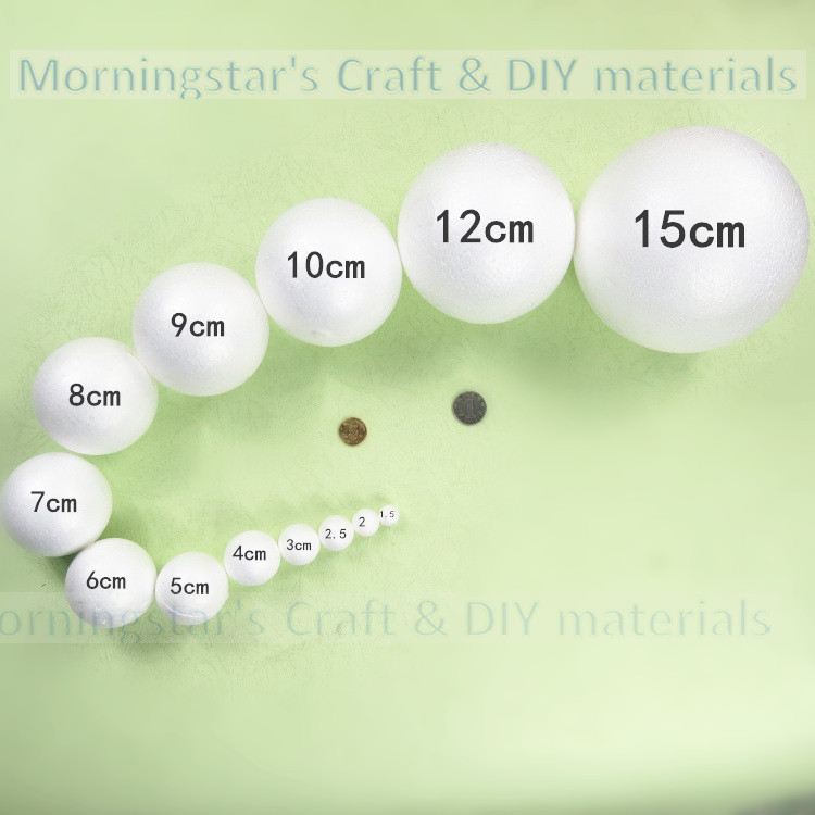 1.5cm 2/3/4/5/7/8/9/1012/15/18/20/30cm white foam balls Polystyrene Styrofoam balls craft Decoration Christmas balls