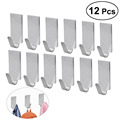 12pcs Adhesive Stainless Steel Towel Hooks Family Robe Hanging Hooks Hats Bag Family Robe Hats Bag Key Adhesive Wall Hanger preview-1