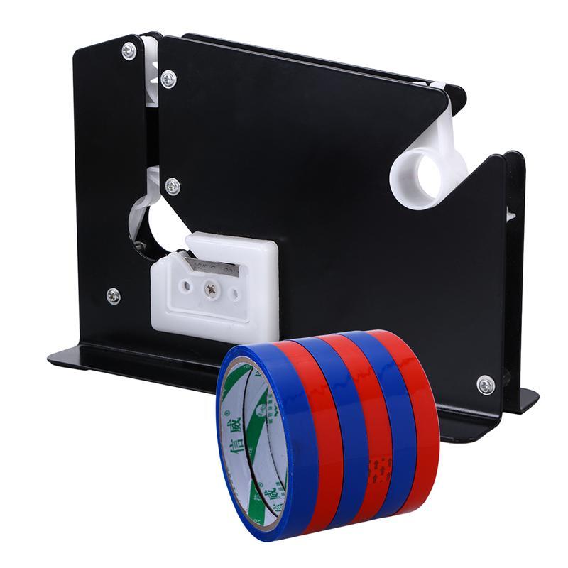 Metal Bag Neck Sealer Tape Dispenser With 6 Roll Tape 12mm for Shop Supermarket