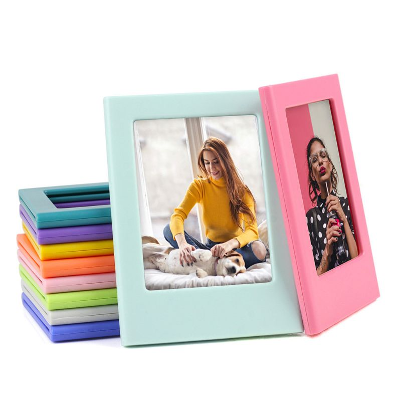 OOTDTY Mini Colorful DIY Magnetic Photo Frame Fridge Refrigerator Magnet Picture Frame for Holding 3 Inch Photos
