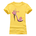 Romanticism 2017 fashion Summer T shirt Women Cotton Brand Clothing T-Shirt Pink High-heeled shoes Printed Top Tee preview-4