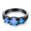 Exquisite Female Round Blue Fire Opal Fashion Ring Black Gold Filled Wedding Rings For Women Vintage Jewelry Anillos Mujer preview-4