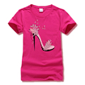 Romanticism 2017 fashion Summer T shirt Women Cotton Brand Clothing T-Shirt Pink High-heeled shoes Printed Top Tee preview-3