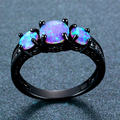 Exquisite Female Round Blue Fire Opal Fashion Ring Black Gold Filled Wedding Rings For Women Vintage Jewelry Anillos Mujer preview-3