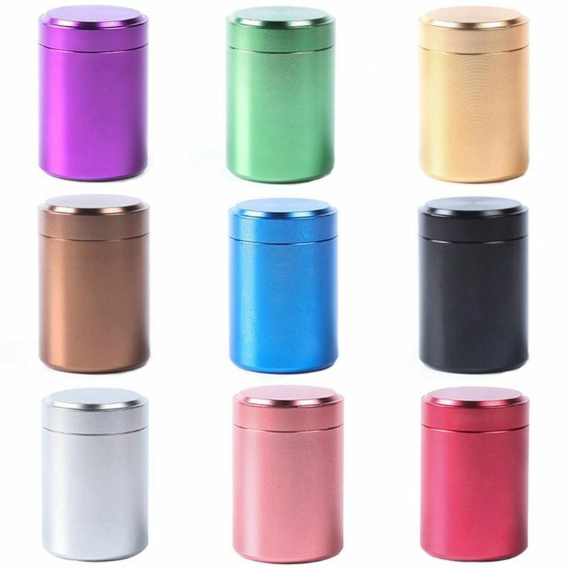70ML 140ML Solid Color Airtight Smell Proof Container Aluminum Herb Stash Metal Sealed Can Tea Jar Storage Boxes