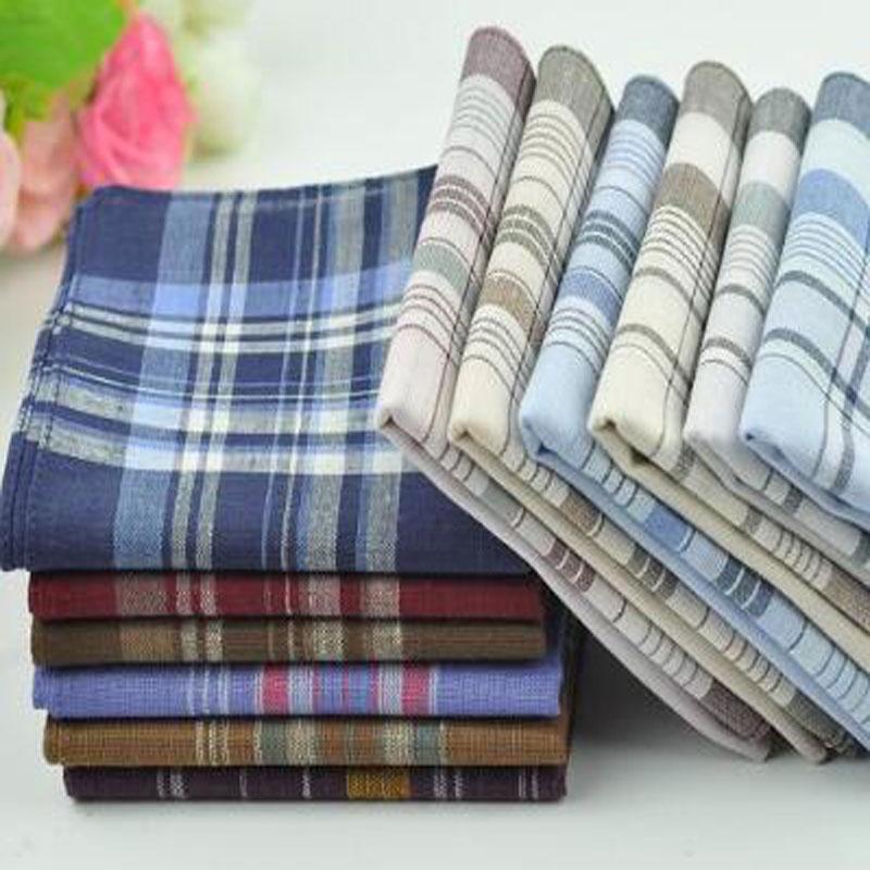 10Pcs/lot 38*38cm Soft Cotton Handkerchief Classic Check Striped Pattern Comfort Vintage Square Handy Pocket Women Men 6557