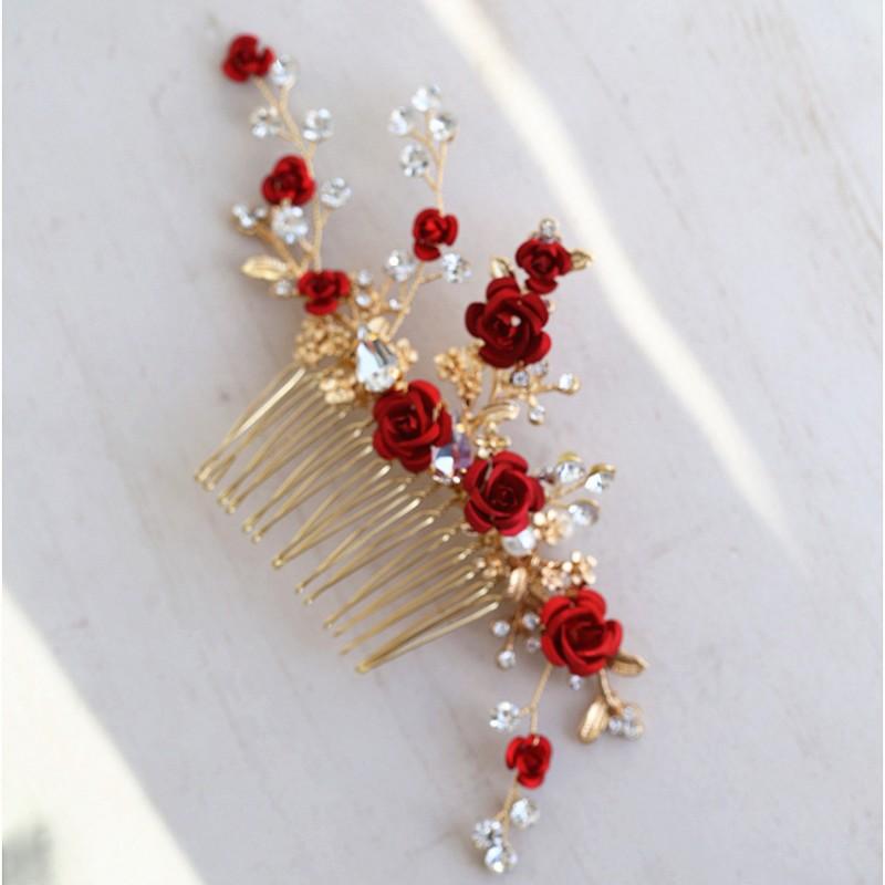 Jonnafe Red Rose Floral Headpiece For Women Prom Rhinestone Bridal Hair Comb Accessories Handmade Wedding Hair Jewelry