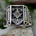 Vintage Sun Stars Skull Rings for Men Steam Punk AG Masonic Freemasonry Men's Rings Party Jewelry Gift preview-1
